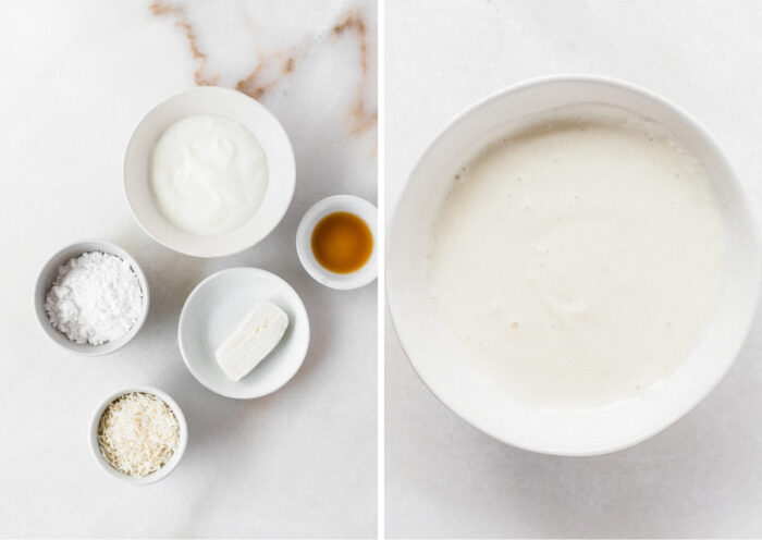 two image collage showing ingredients for cream cheese frosting and the finished frosting in a white bowl.