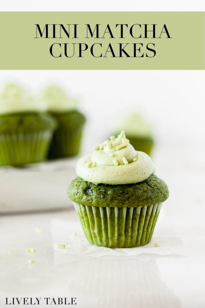 mini matcha cupcake topped with matcha honey frosting with more mini cupcakes in the background, with text overlay.