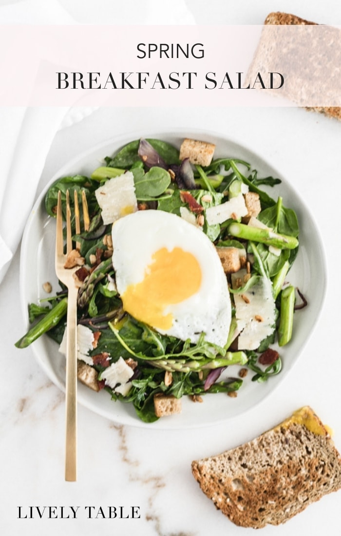 Get half a day's worth of veggies first thing in the morning with a healthy and delicious spring breakfast salad topped with a maple vinaigrette and a runny poached egg! #breakfastsalad #easybreakfast #healthybreakfast #saladforbreakfast #brunchrecipes