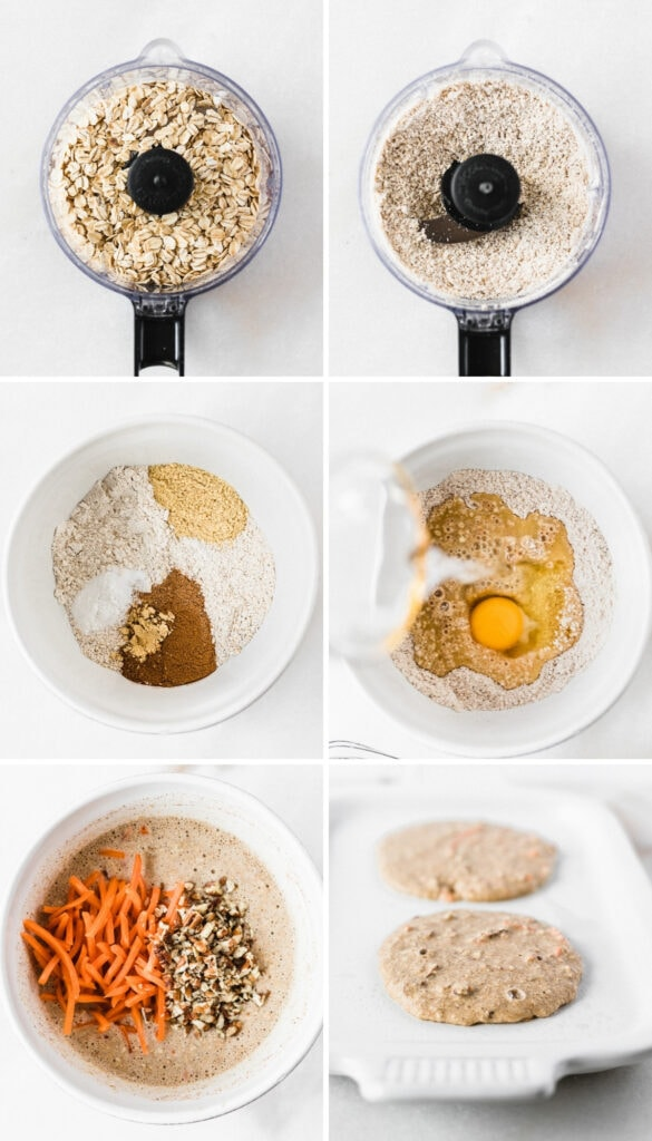 six image collage showing steps for making healthy carrot cake pancakes.