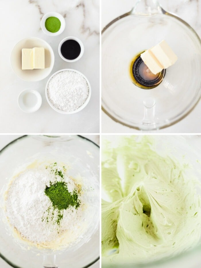 four image collage showing steps for making honey matcha icing.
