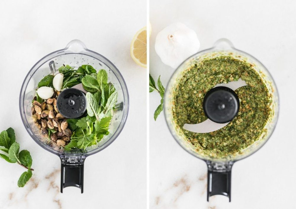 side by side images of mint pesto ingredients in a food processor and the pesto in a food processor.