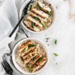 grilled miso chicken in a bowl with rice.