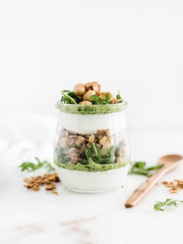 Savory Pesto Chickpea Yogurt Parfait