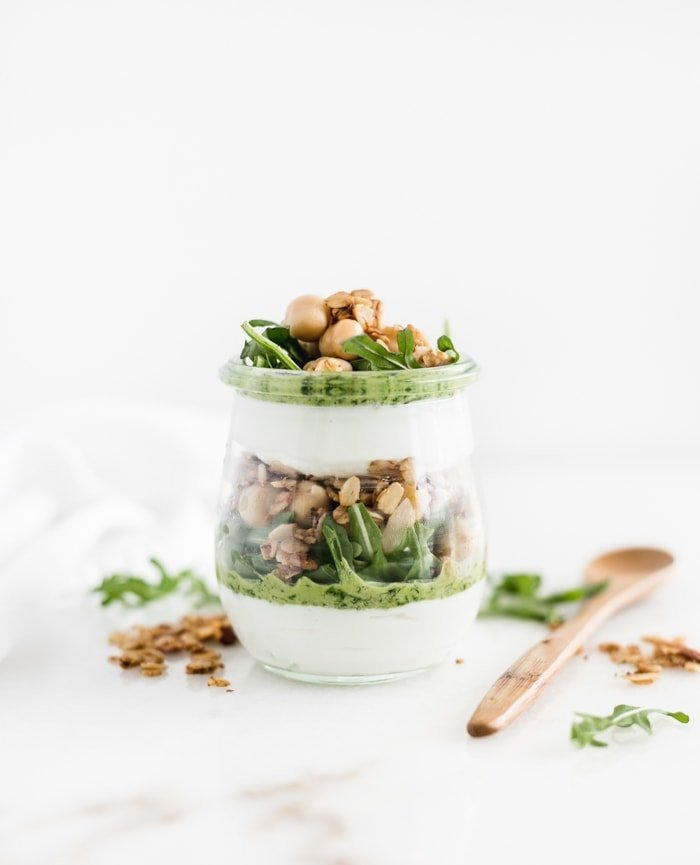 Savory Pesto Chickpea Yogurt Parfait