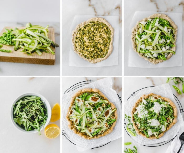 six image collage showing steps to making snap pea asparagus pizza with burrata and arugula.