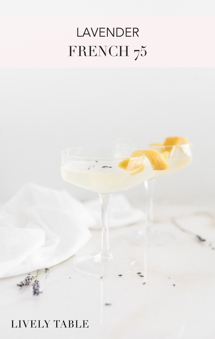 Delicate lavender adds a pretty twist to the classic French 75 for an easy, impressive cocktail in this delicious Lavender French 75 #cocktails #lavendercocktails #lavenderdrinks #lavender #french75cocktails #french75