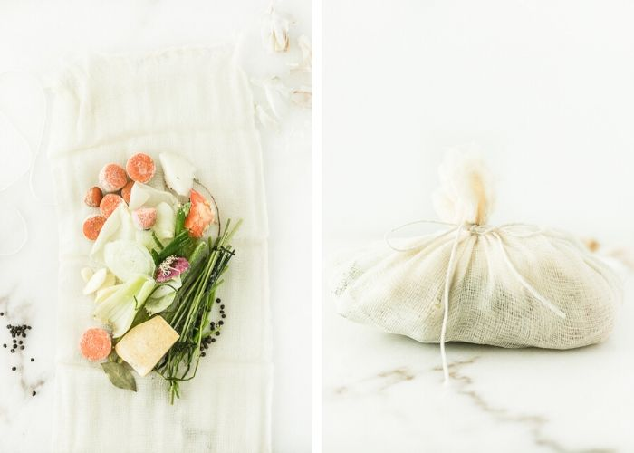 two side by side images showing veggies ends on top of cheesecloth, then wrapped in the cheesecloth in a bundle for making broth.