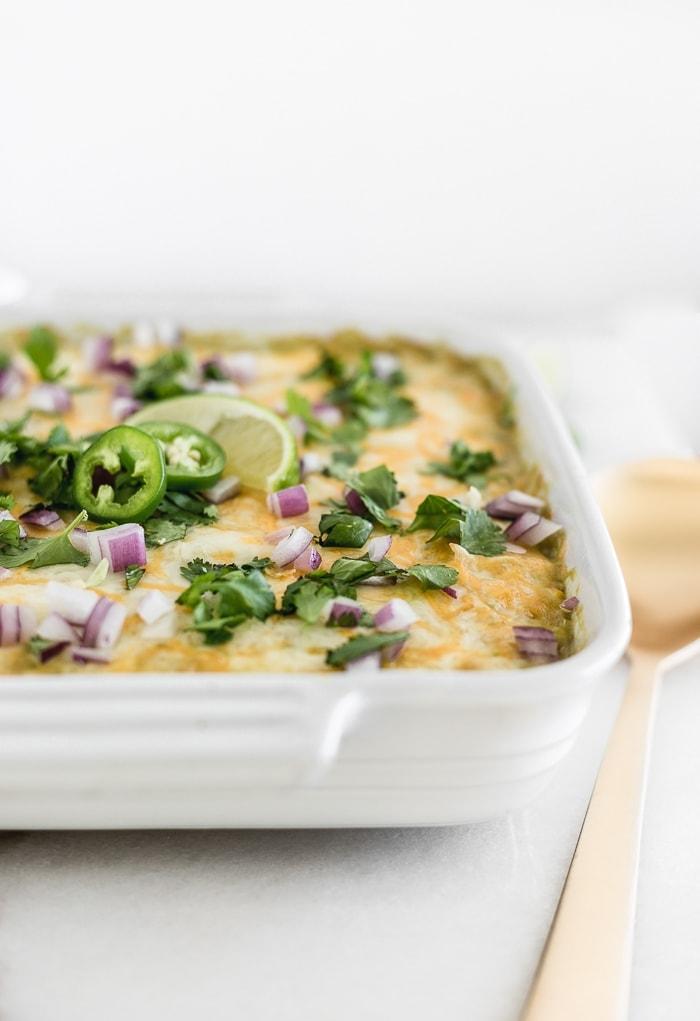 Chicken enchilada quinoa casserole all done in a baking dish.