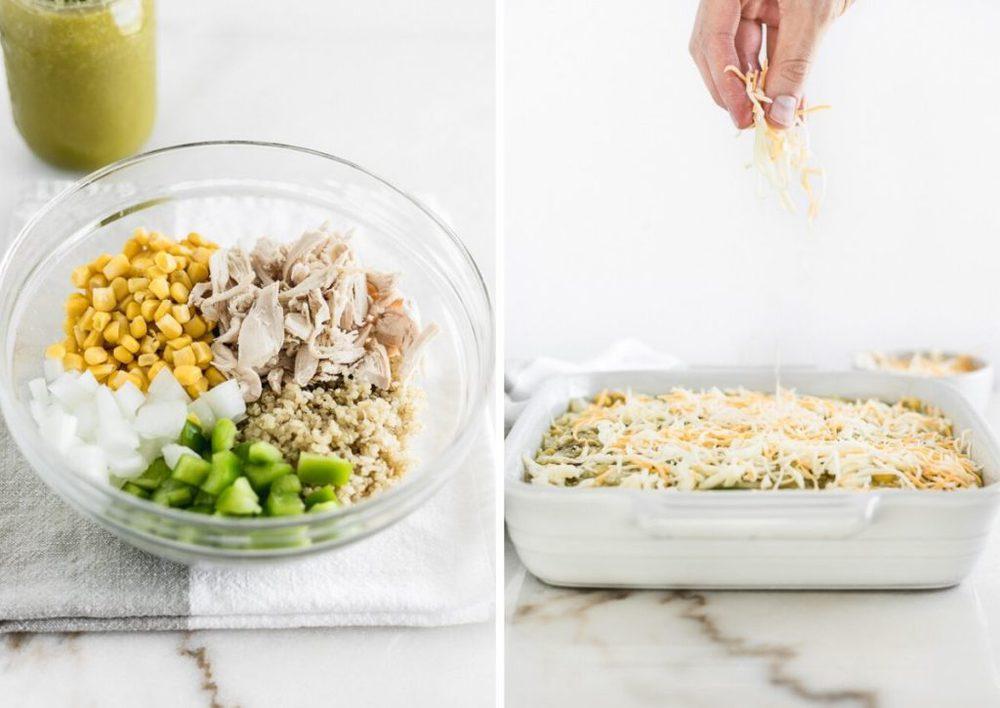 Steps on how to make chicken enchilada quinoa casserole.