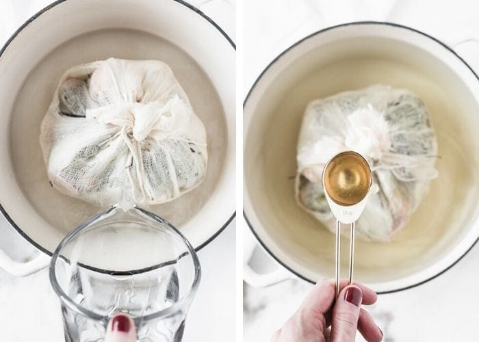 two side by side images showing a hand pouring water into a pot with a cheesecloth bundle, and a hand pouring a tablespoon of apple cider vinegar into the pot.