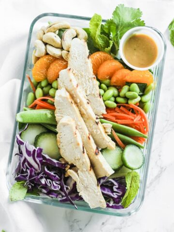 meal prep asian miso chicken salad bowls