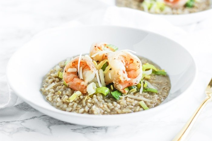Brown Rice Shrimp and Leek Risotto