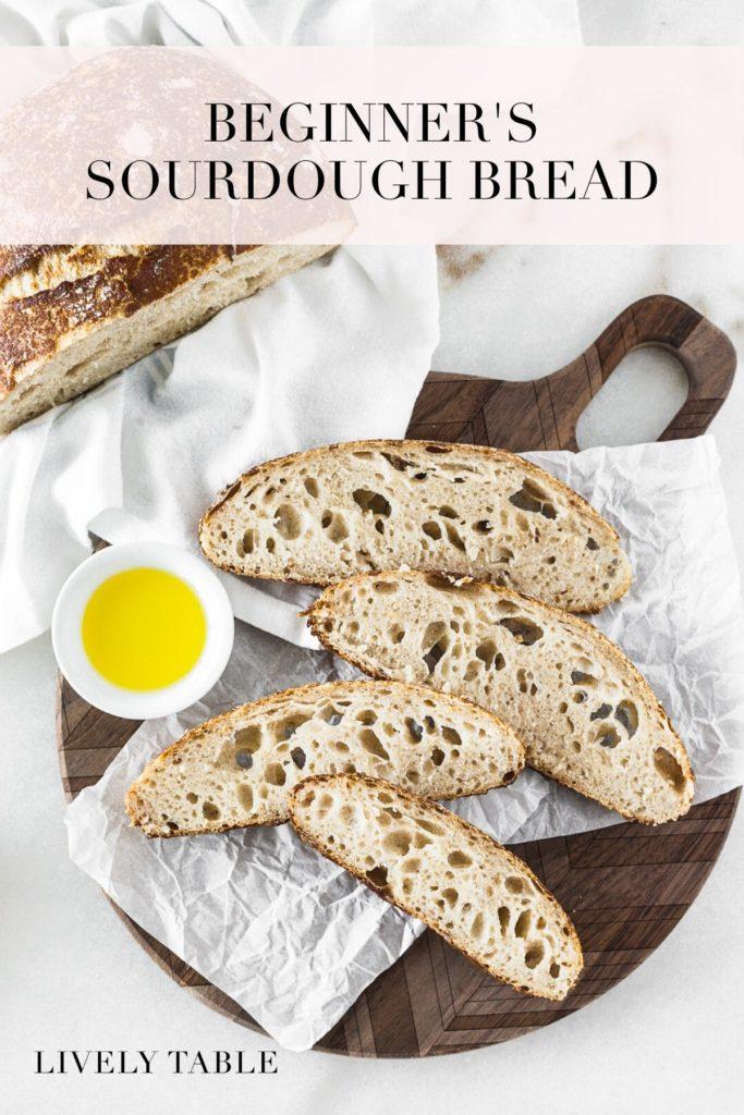 pinterest image for homemade sourdough bread.