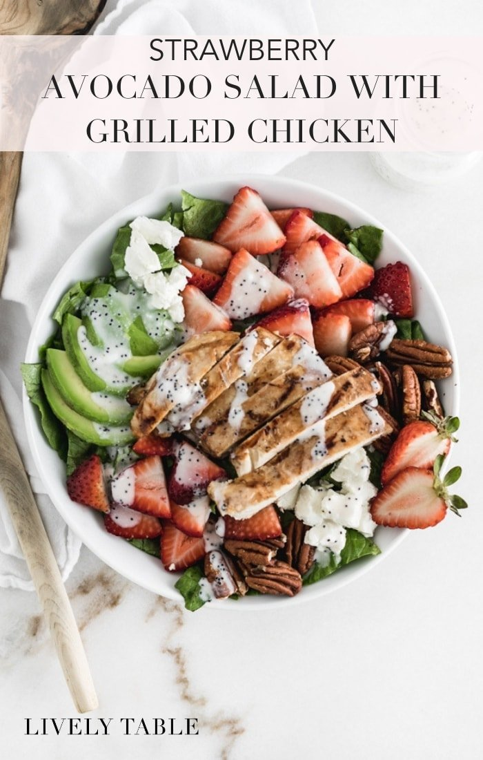 This addicting strawberry avocado salad with grilled chicken, creamy goat cheese, pecans and a creamy poppy seed dressing is a healthy and delicious summer lunch or dinner! #glutenfree #strawberry #avocado #pecans #salads #grilledchickensalad #goatcheese #healthymeals #summersalad