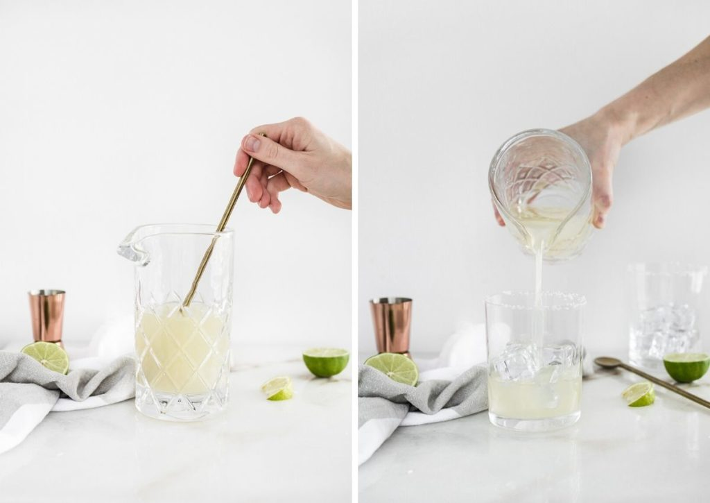 The best skinny margaritas ingredients getting mixed in a glass and then getting poured into a glass with ice.