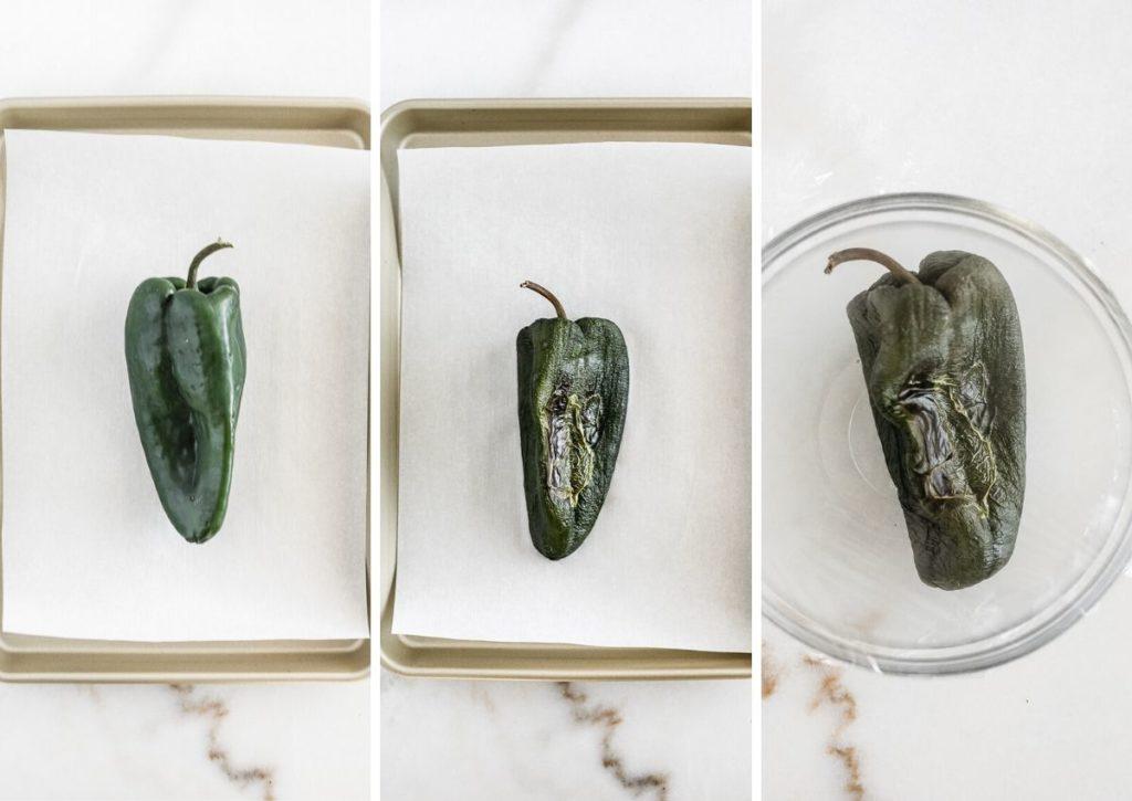 How to roast a poblano pepper.