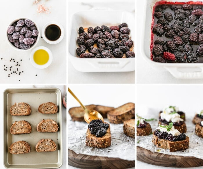 six image collage showing steps for making balsamic roasted berry burrata bruschetta.