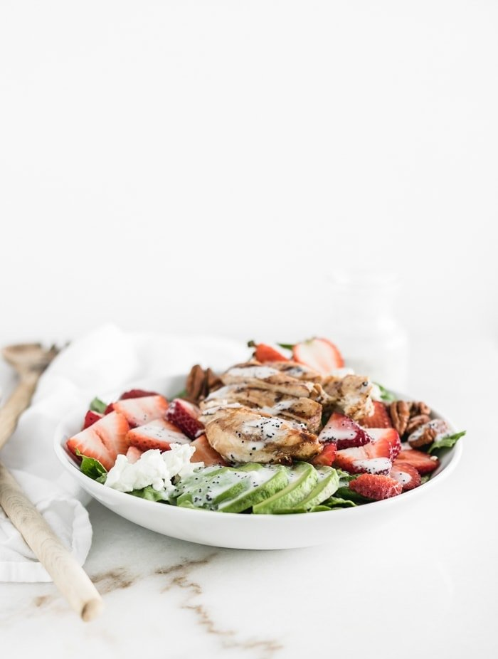 Strawberry Avocado Salad with Grilled Chicken