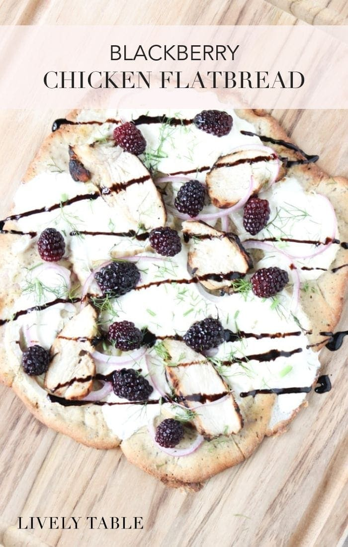 A delicious summer flatbread with tender grilled chicken, creamy burrata, shaved fennel and juicy blackberries! #flatbread #healthyrecipes #under30
