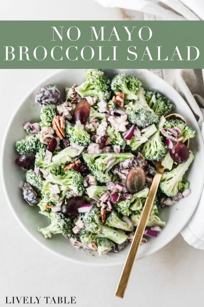 overhead view of no mayo broccoli salad with a gold fork in it with text overlay.