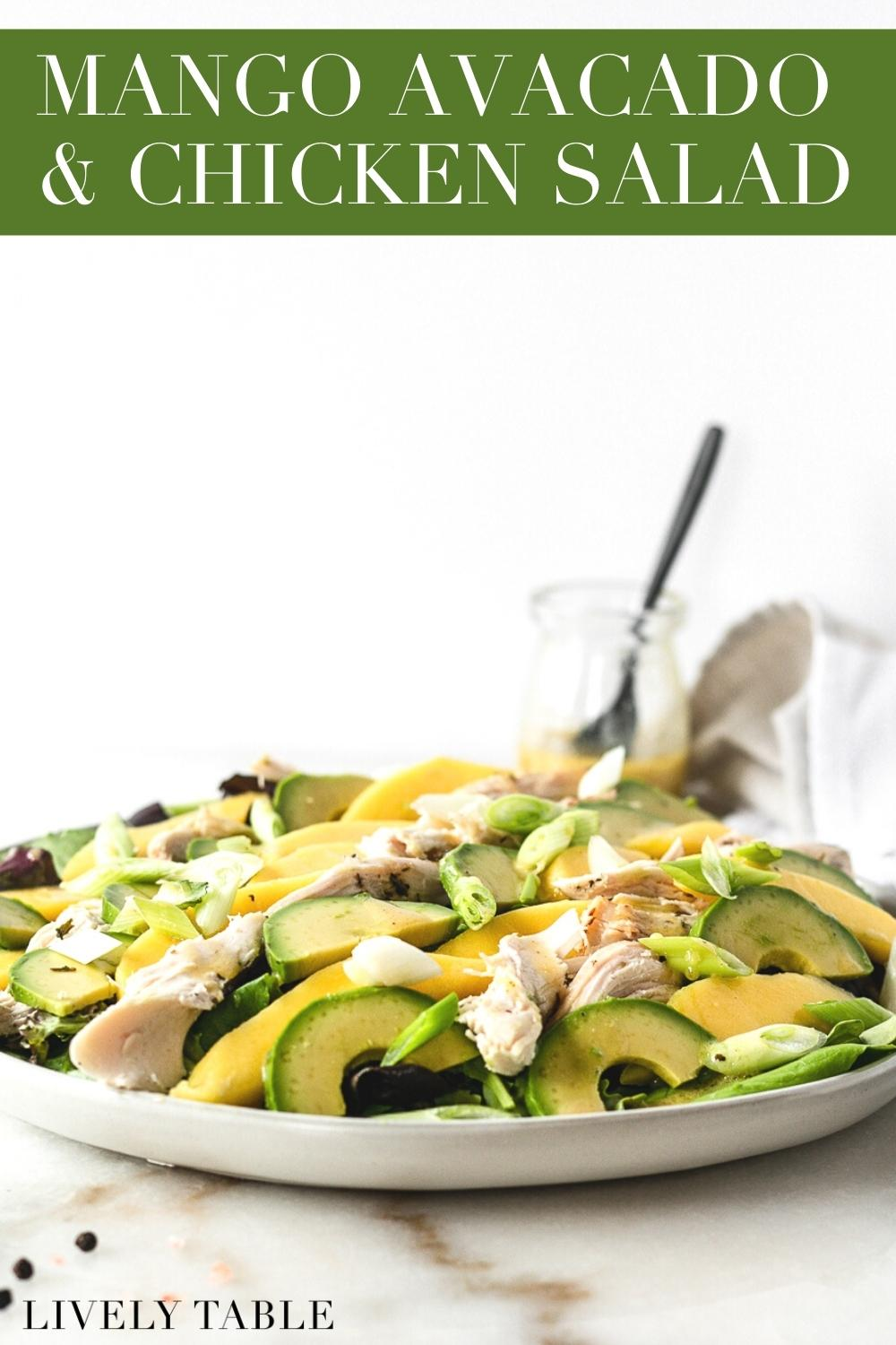 A simple and delicious mango, avocado and roasted chicken salad with a honey dijon lemon vinaigrette is a great lunch or light summer dinner. It's easy, healthy, and can even be made with rotisserie chicken!#glutenfree #roastedchicken #salad #mango #avocado #healthy #summer #easy #simplerecipe #under30 #under15