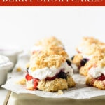 Red, White and Blueberry Shortcakes with a (slightly) healthier whipped cream are perfect little desserts to celebrate patriotic summer celebrations, from 4th of July, to Memorial Day and Labor Day! #redwhiteandbluerecipes #fourthofjuly #holidayrecipes #shortcake #blueberry #strawberry #healthy