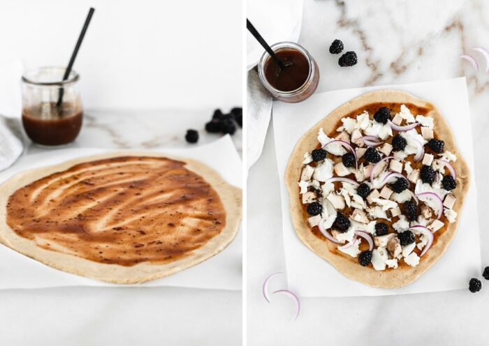 Steps on how to make blackberry bbq chicken flatbread.
