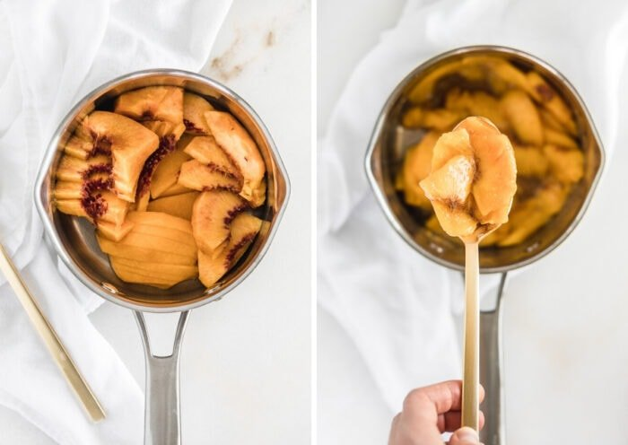 side by side images of sliced peaches in a saucepan, and the cooked peaches being lifted from the saucepan with a spoon.