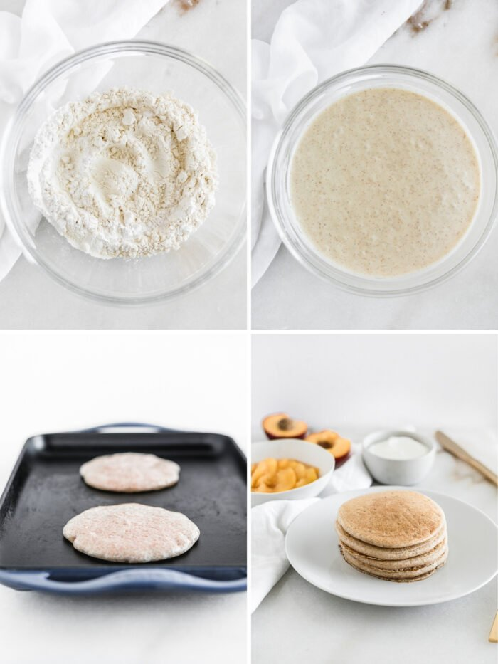 collage of four images showing steps to make buttermilk pancakes.