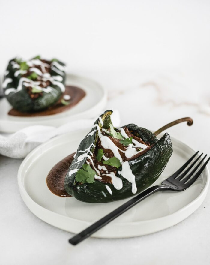 Chicken mole relleno on a plate with a fork.