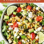 This grilled corn summer salad features grilled fresh corn and poblanos with fresh tomatoes and avocado for a delicious summer salad that's perfect for cookouts! #glutenfree #vegetarian #grilledcorn #summersalad