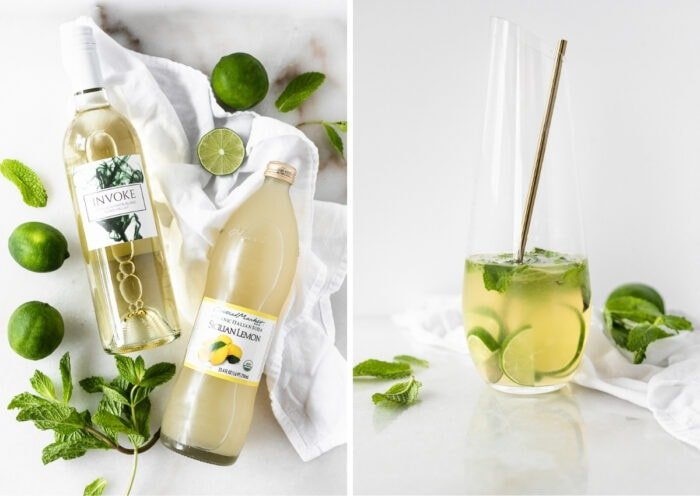 side by side images of ingredients needed to make white wine mojitos and the mixed mojitos in a pitcher.