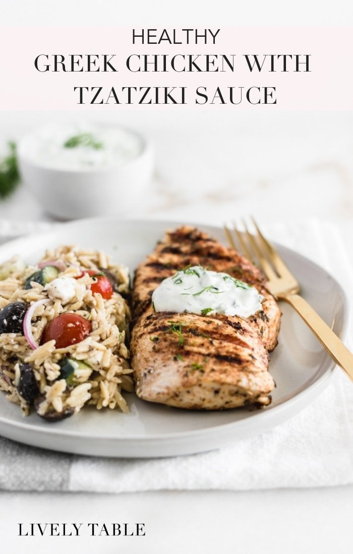 Make this Greek Chicken with Tzatziki Sauce tonight! Tender Greek seasoned chicken with cool, creamy Tzatziki sauce is a delicious, easy and healthy dinner with Mediterranean inspiration. #glutenfree #nutfree #mediterraneandish #mediterraneanfood #healthychickendish #greekchicken #tzatzikisauce