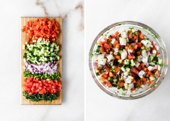 two image collage showing chopped vegetables for ceviche on a cutting board and finished ceviche in a bowl.