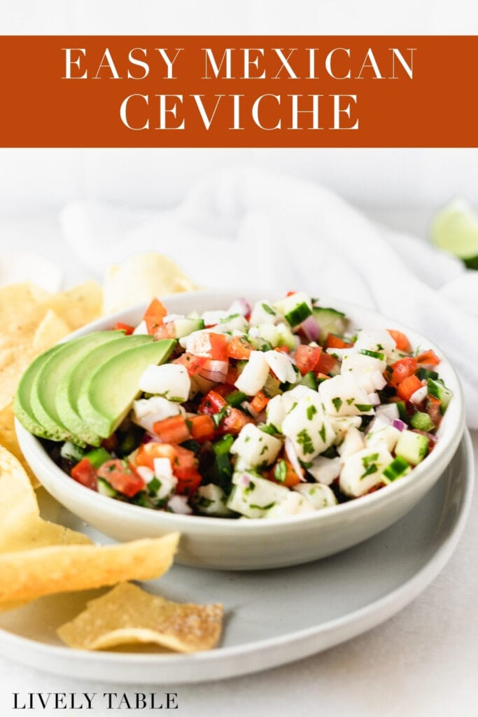 bowl of ceviche with sliced avocado on top on a plate with tortilla chips with text overlay.