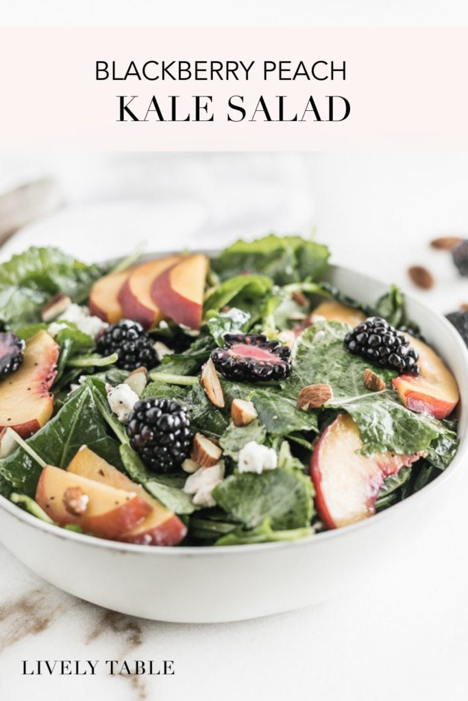 pinterest image of blackberry peach kale salad