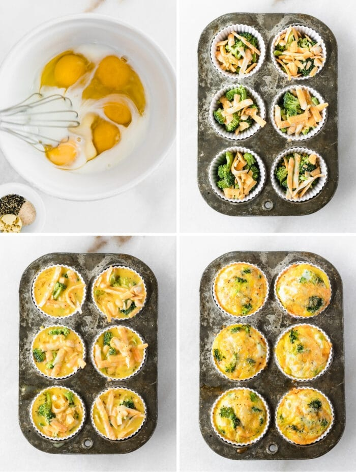 four image collage showing steps for making Broccoli Cheddar Egg Muffins.