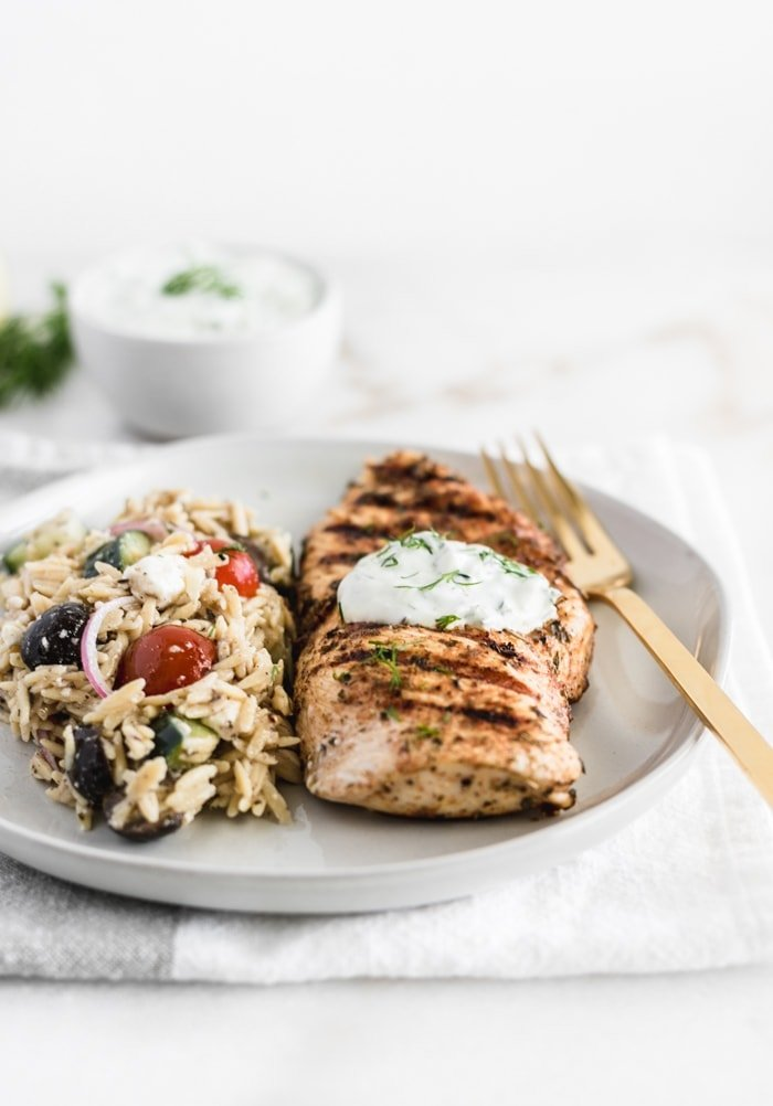 Healthy Greek Chicken with Tzatziki Sauce