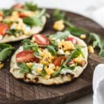 grilled corn and goat cheese flatbread