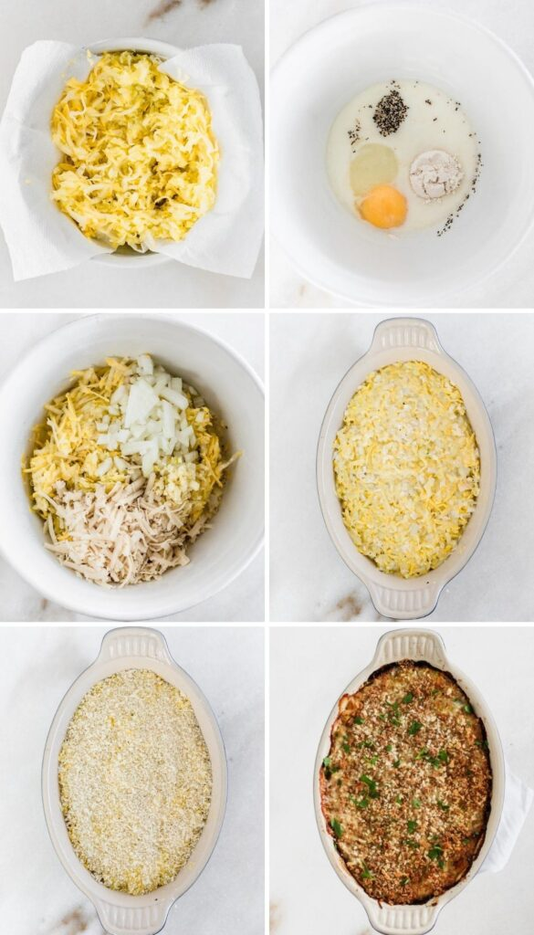 six image collage showing steps to making summer squash casserole.