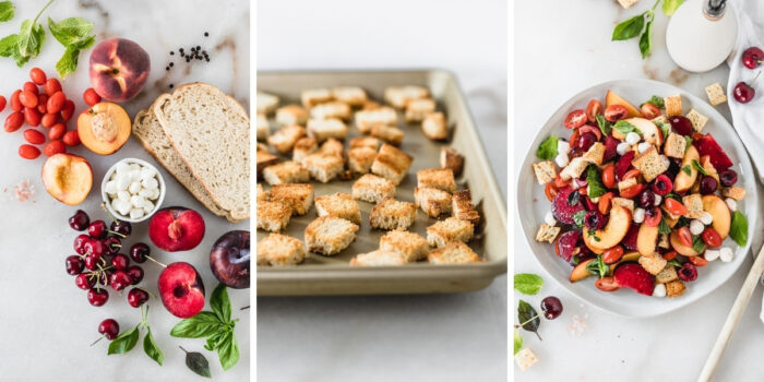 three image collage showing ingredients needed for stone fruit panzanella, toasted croutons on a baking sheet, and assembled salad.