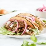 Easy crockpot carnitas are made from lean pork loin in the slow cooker, then broiled or pan-seared slightly for crispy, flavorful pork carnitas! (gluten-free, dairy-free)