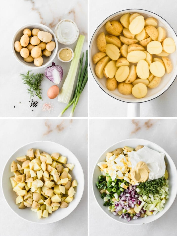 four image collage showing steps for making healthy dill potato salad.