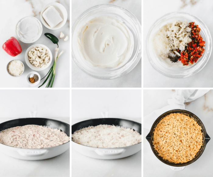 six image collage showing steps for making healthier baked crab dip with red peppers.