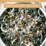 A healthy, crunchy kale Caesar salad with creamy, homemade Greek yogurt Caesar dressing. #kalesalad #healthycaesarsalad #homemadedressings #homemadecaesarsaladdressing #caesarsalad #kalecaesarsalad #salads #healthysalad #easysalads #easylunch
