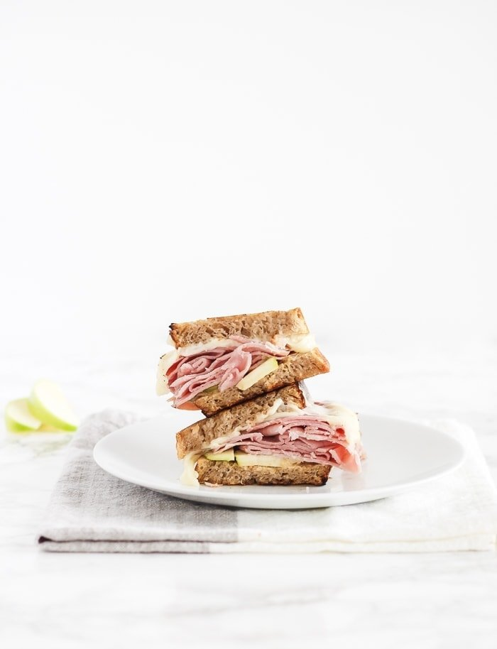 Apple White Cheddar Hot Ham and Cheese Sandwich