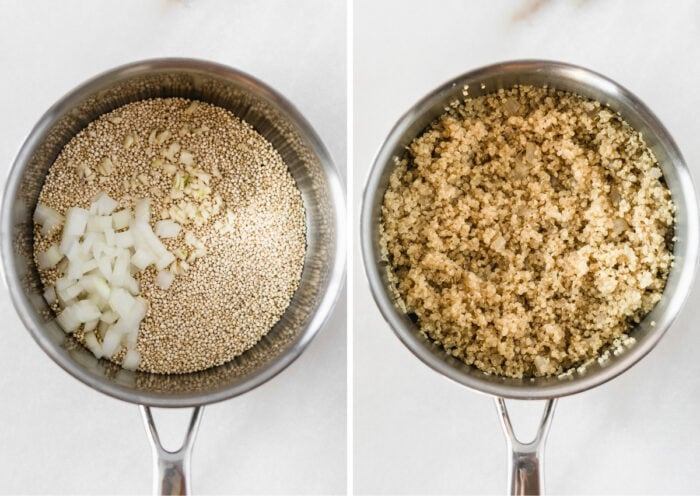 side by side images of a pot with uncooked quinoa with garlic and onions next to cooked quinoa.