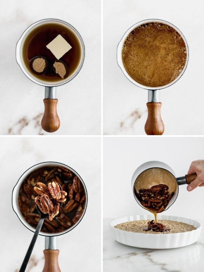 How to make healthy pecan pie baked oatmeal.