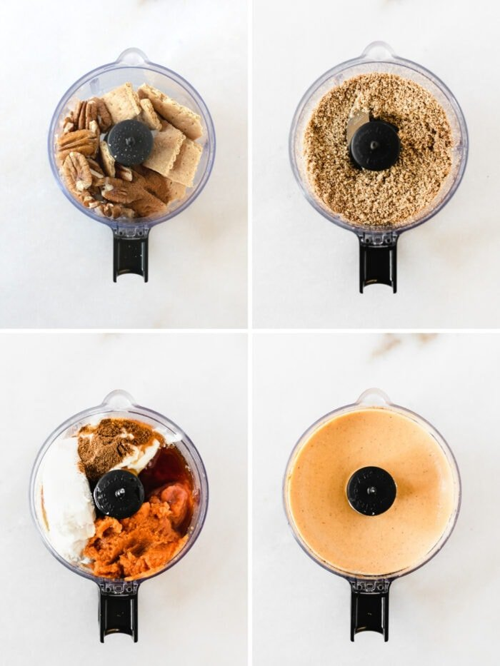 4 image collage showing steps for making healthy no bake pumpkin cheesecake crust and filling in a food processor.